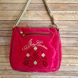 "Juicy Couture pink velour messenger bag 13""x13"""